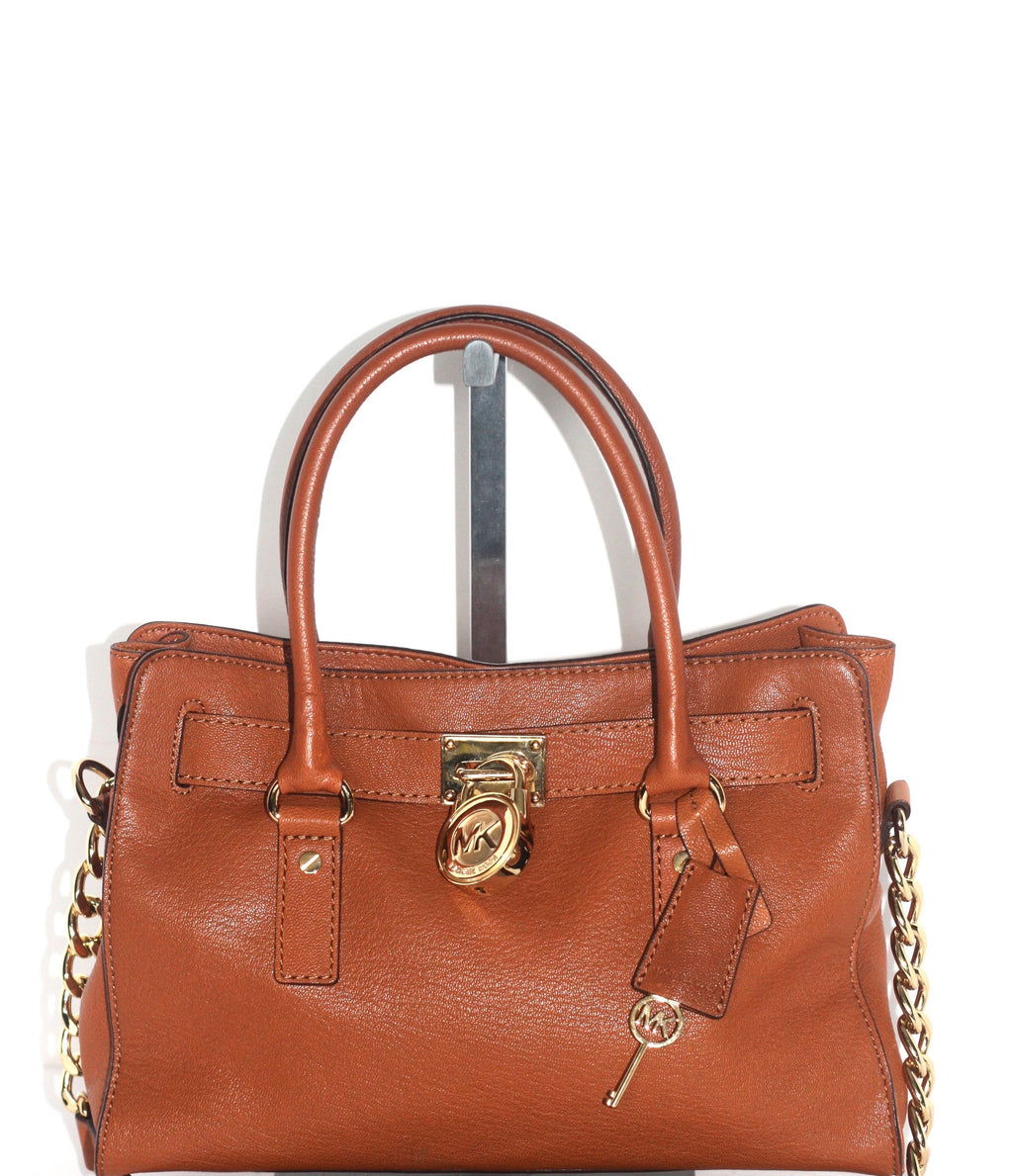 "Michael Kors ""Hamilton"" Camel & Gold Medium  Satchel - Joyce's Closet  - 1"