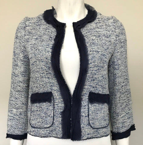 Zara Blue Tweed Crop Jacket Size XS