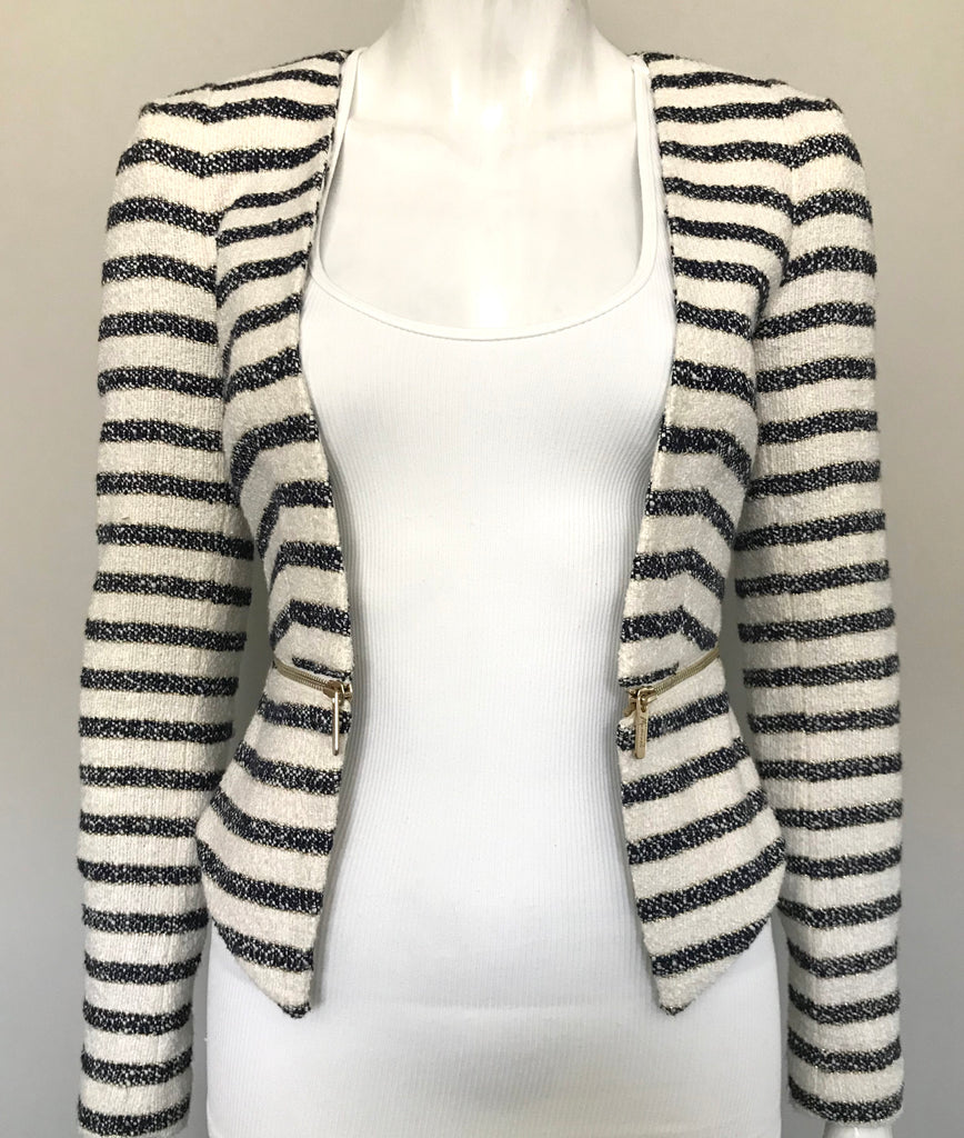 Guess by Marciano Navy & Cream Stripe Crop Jacket Size 0