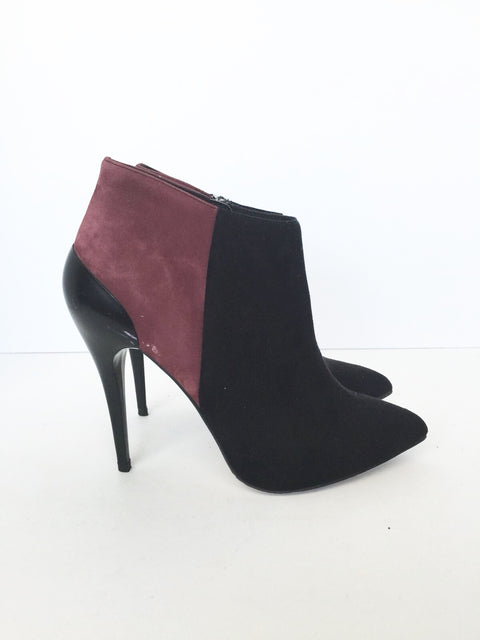 Aldo Color Block Black & Burgundy Suede Ankle Booties Size 7