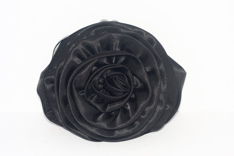 Vintage Red Carpet Collection Rosette Black Satin Clutch - Joyce's Closet  - 1