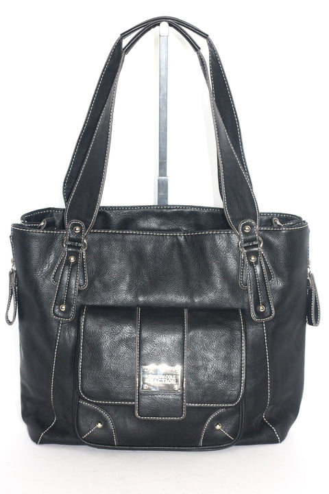 Kenneth Cole Reaction Black Leather Shoulder Tote - Joyce's Closet  - 1