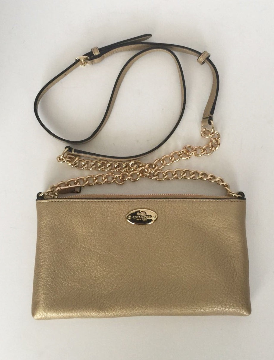 New Coach Lyla Gold Leather Cross-Body Bag