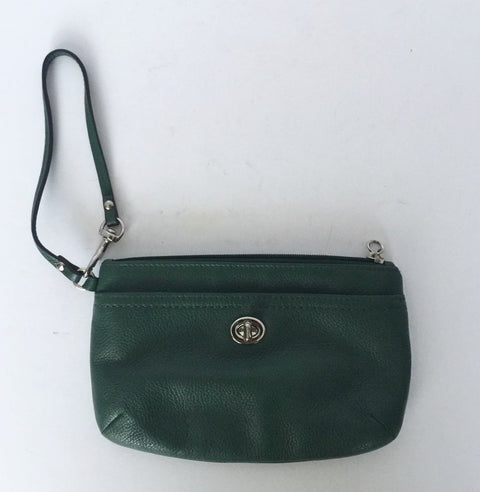 Vintage Green Leather Wristlet