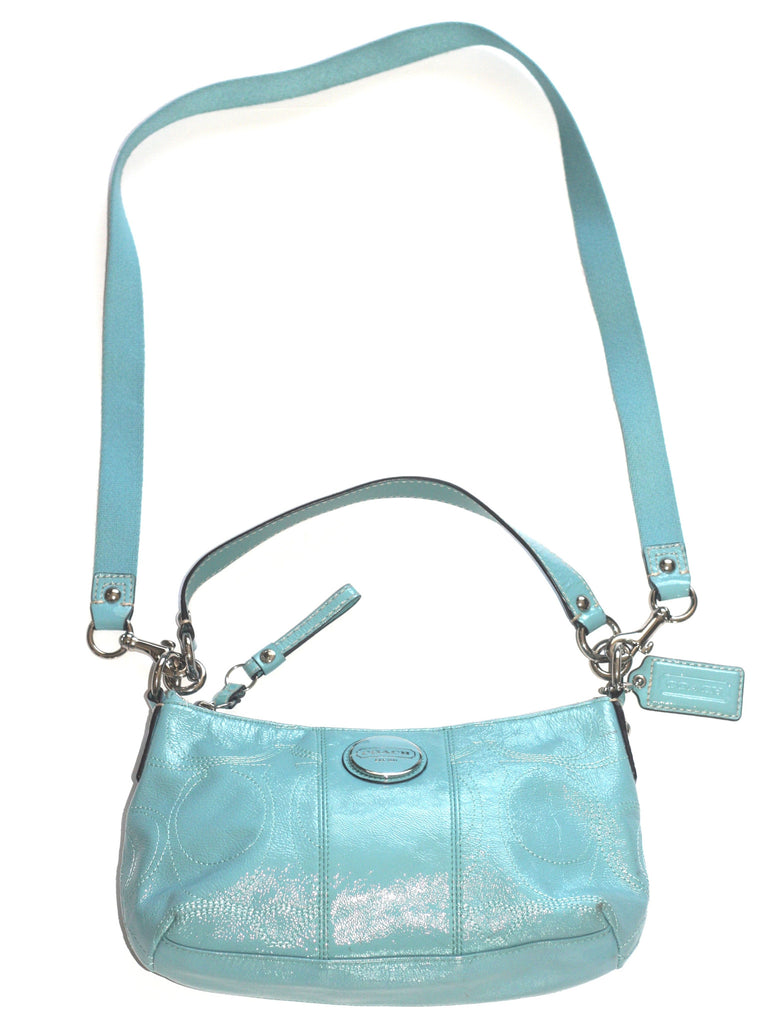 Coach Baby Blue Patent Leather Shoulder Bag