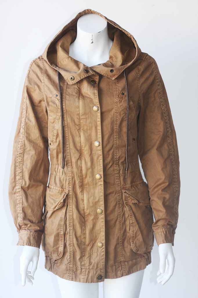 Garage Tan Hooded Parka Jacket - Joyce's Closet  - 1