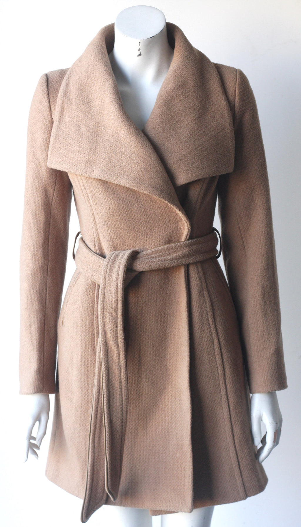 Monk & Lou Belted Taupe Wool Coat - Joyce's Closet  - 1