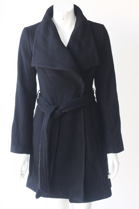 Monk & Lou Belted Black Wool Coat - Joyce's Closet  - 1