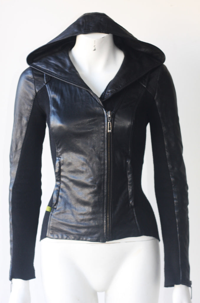 Soia & Kyo Fitted Black Hooded Leather Jacket - Joyce's Closet  - 1