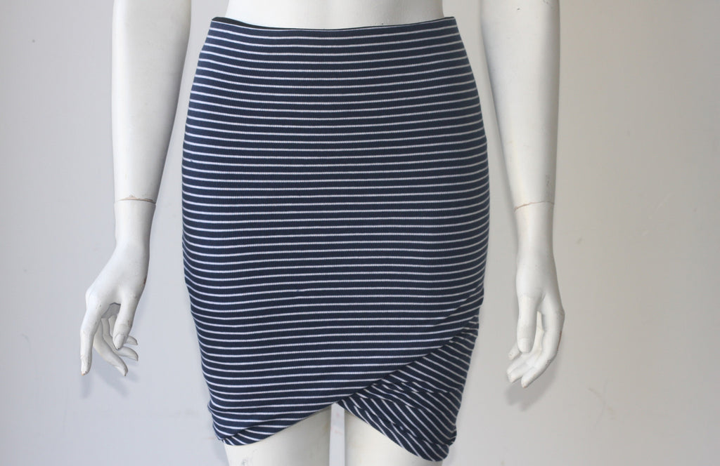 BCBG MAX Azria Fitted Striped Navy & White Mini Skirt - Joyce's Closet  - 1