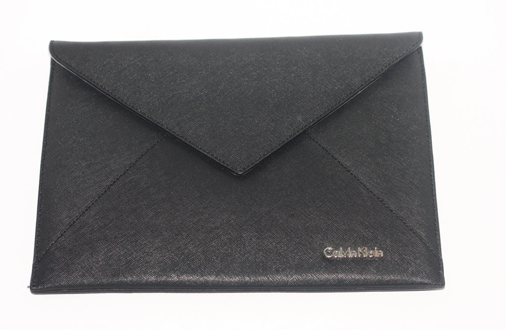 Calvin Klein Black Leather Envelope Clutch - Joyce's Closet  - 1