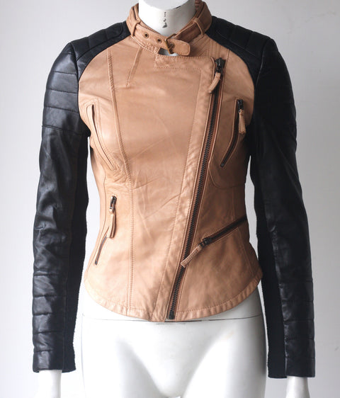 Zara Basic Two Tone Motorcycle Lambskin Leather Quilted Jacket - Joyce's Closet  - 1