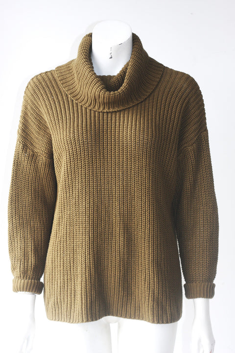 America Apparel Cable Knit Oversized Olive Green Turtle Neck Sweater - Joyce's Closet  - 1