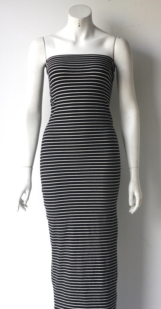 American Apparel Black & White Strapless Tube Maxi Dress - Joyce's Closet  - 1
