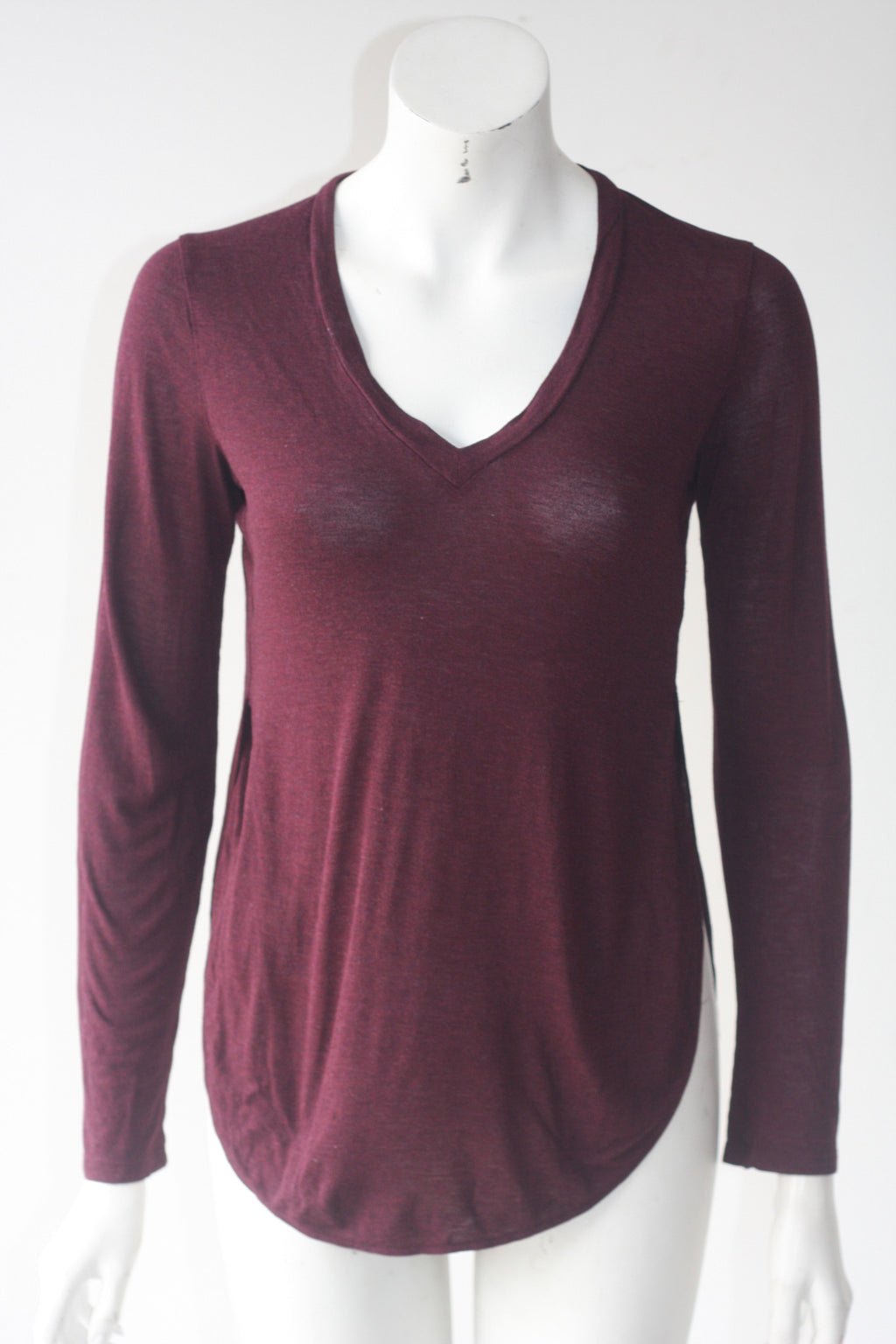 Wilfred Long Sleeve Maroon Basic V Neck T Shirt - Joyce's Closet  - 1