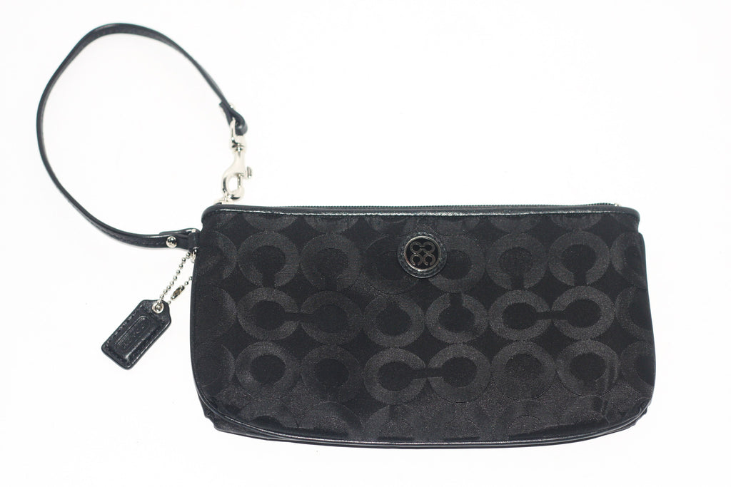 Coach Black Canvas Monogram Mini Wristlet Clutch - Joyce's Closet  - 1