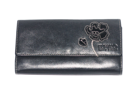 Buffalo David Bitton Black Trifold Leather Wallet - Joyce's Closet  - 1
