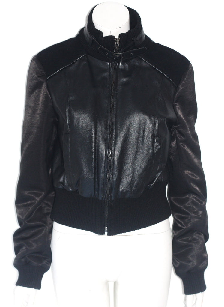 Bebe Black Leather & Wool Varsity Jacket - Joyce's Closet  - 1