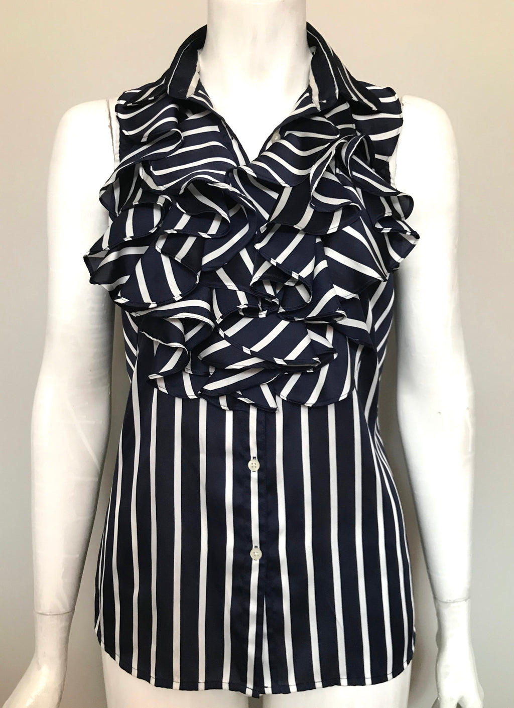 Ralph Lauren Navy & White Strip Ruffle Blouse Size 6