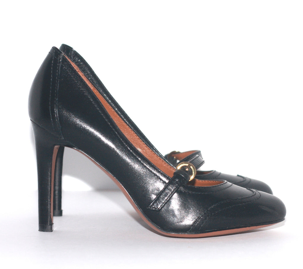 Nine West Black Leather Almond Toe Mary Jane Pump - Joyce's Closet  - 1