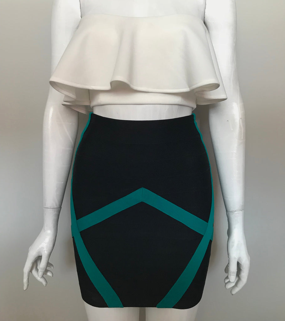 Guess by Marciano Green & Black Bandage Skirt Size XS