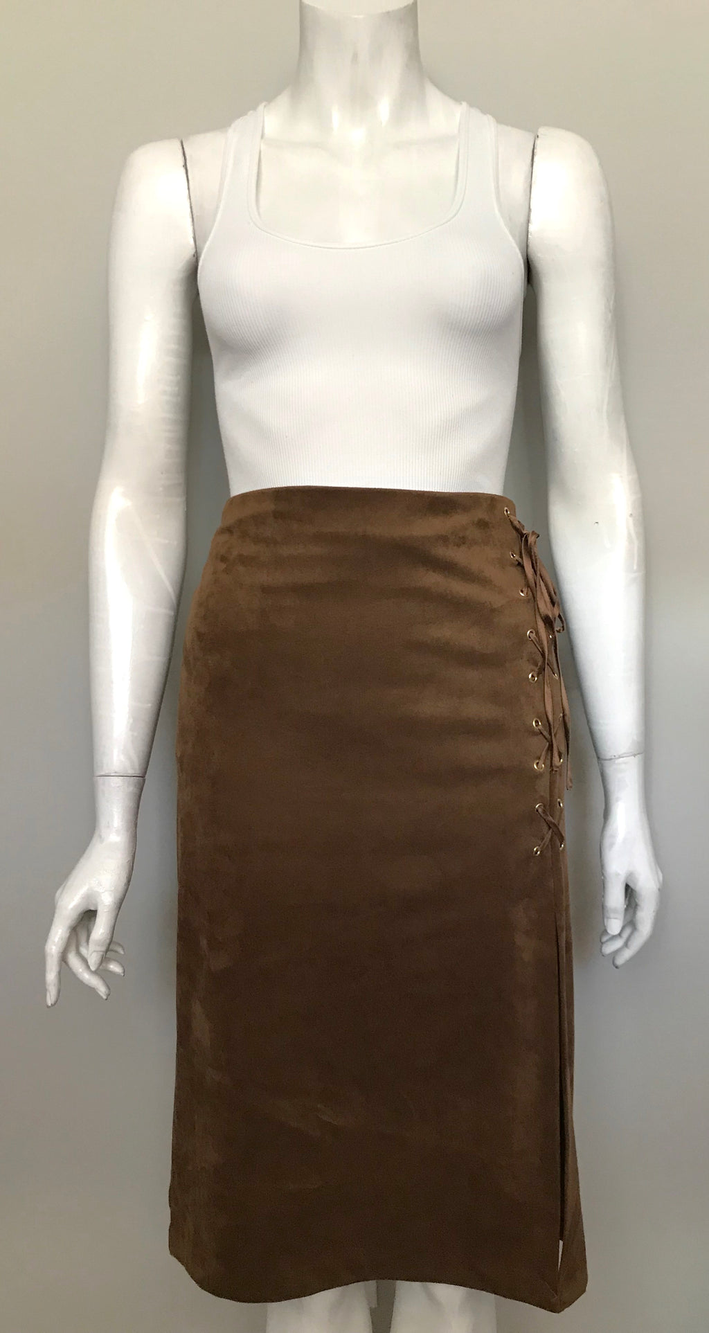 Brand New New York & Company Camel Faux Suede Pencil Skirt Size 14