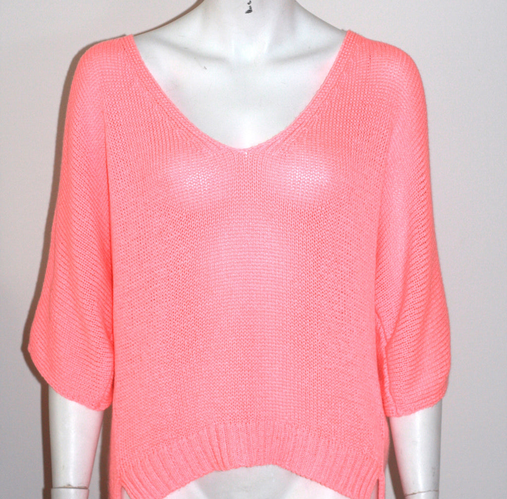 Zara Knit Pink Oversized V Neck Sweater - Joyce's Closet  - 1