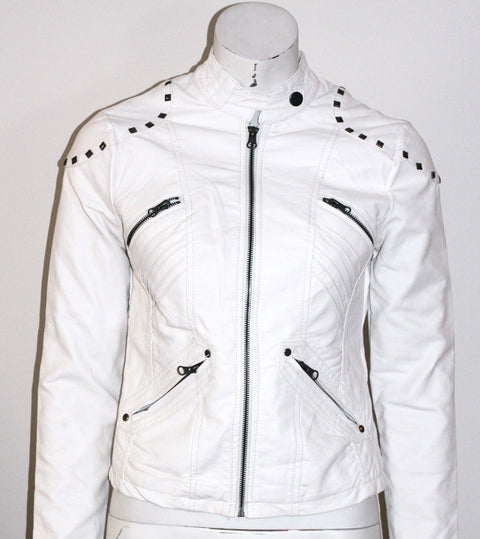 Ci Sono by Cavalini Cream Moto Jacket - Joyce's Closet  - 1