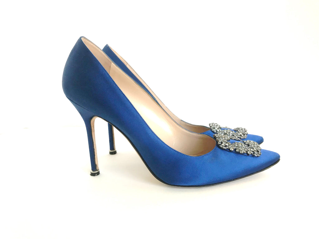 Manolo Blahnik Blue Hangisi Satin Pump Size 42 US 12