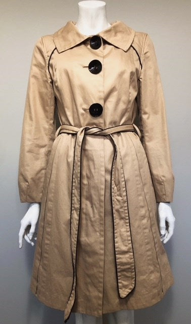 Soia & Kyo Tan Button Up Belted Trench Coat Size L