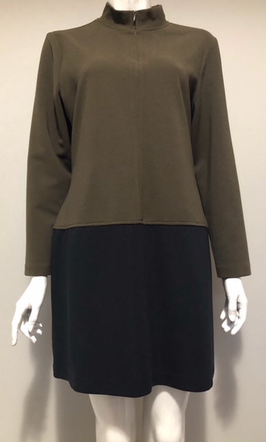 Vintage Fairset Colorblock Green & Black Mock Neck Dress Size L
