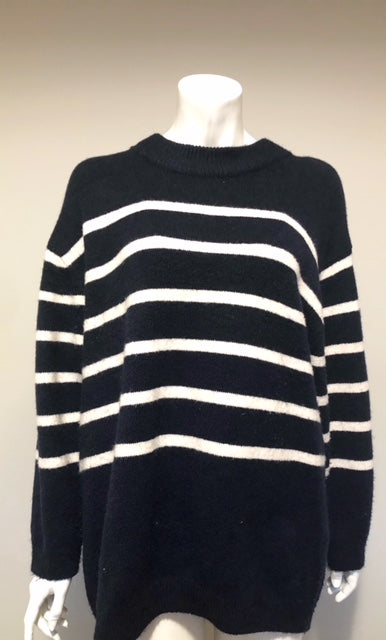 Zara Navy & Cream Stripe Crew Neck Sweater Size M
