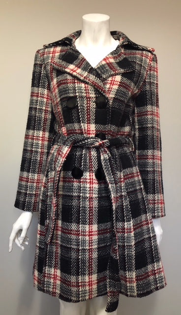 Papillion Red & Black Plaid Wool Belted Coat Size L