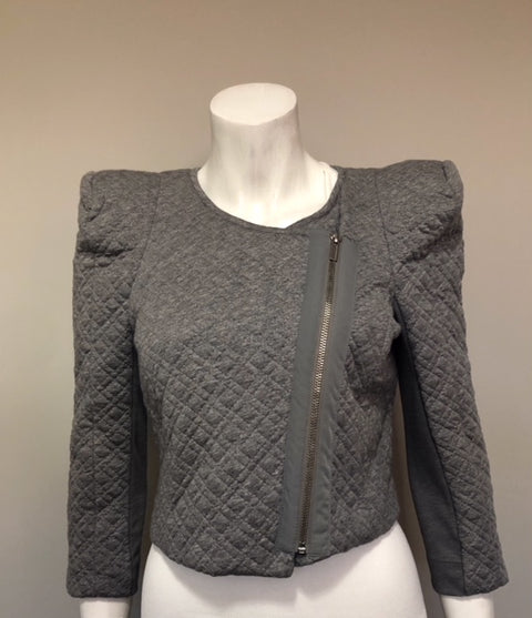 "BCBG Max Azria ""Flynn' Grey Crop Quilted Jacket Size S"