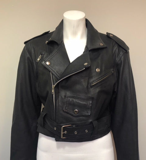 Vintage Wilson's Black Leather Jacket Size S Fits L/XL