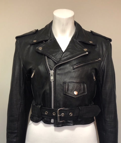 "Vintage ""First Genuine Leather"" Leather Motor Jacket Size XS/S"