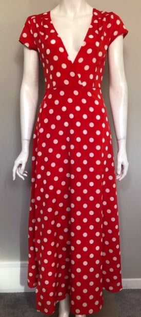 Vintage Wagenzu Red Polka Dot Dress Size M