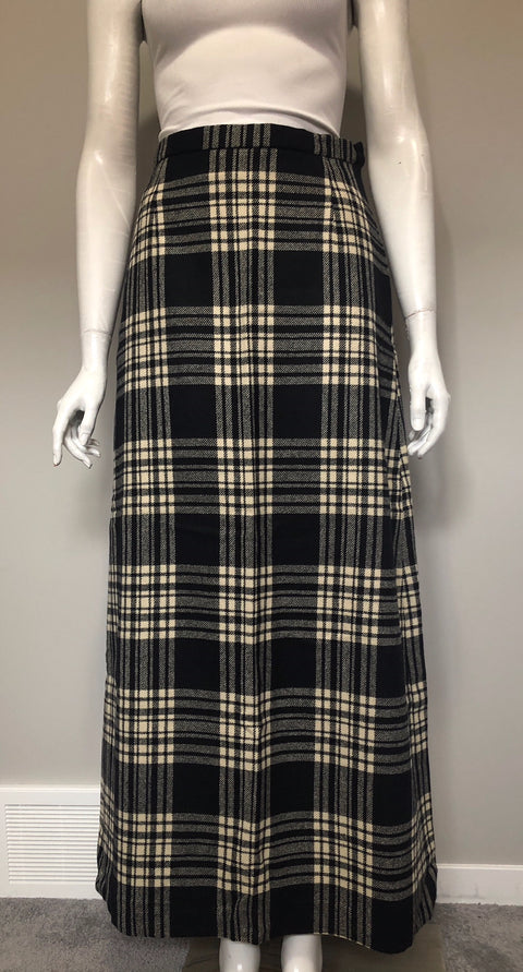 Vintage Wool Plaid Maxi Skirt Fits XS/S