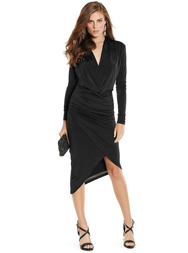 Guess By Marciano Hayley Black Draped Dress Size XS
