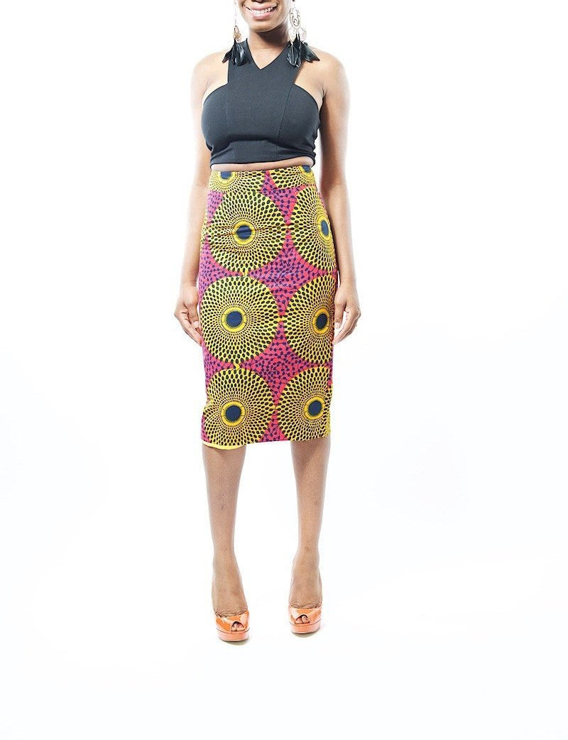 Chi Chi Ankara Full Circle Gold & Pink Midi Pencil Skirt