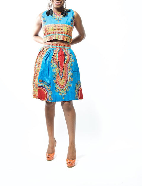 Kemi Royal Blue Dashiki Ankara Print Skirt