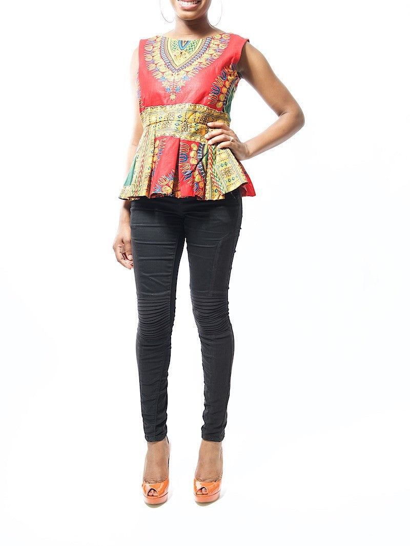 Lilian Dashiki Red Dashiki Ankara Print Peplum Blouse