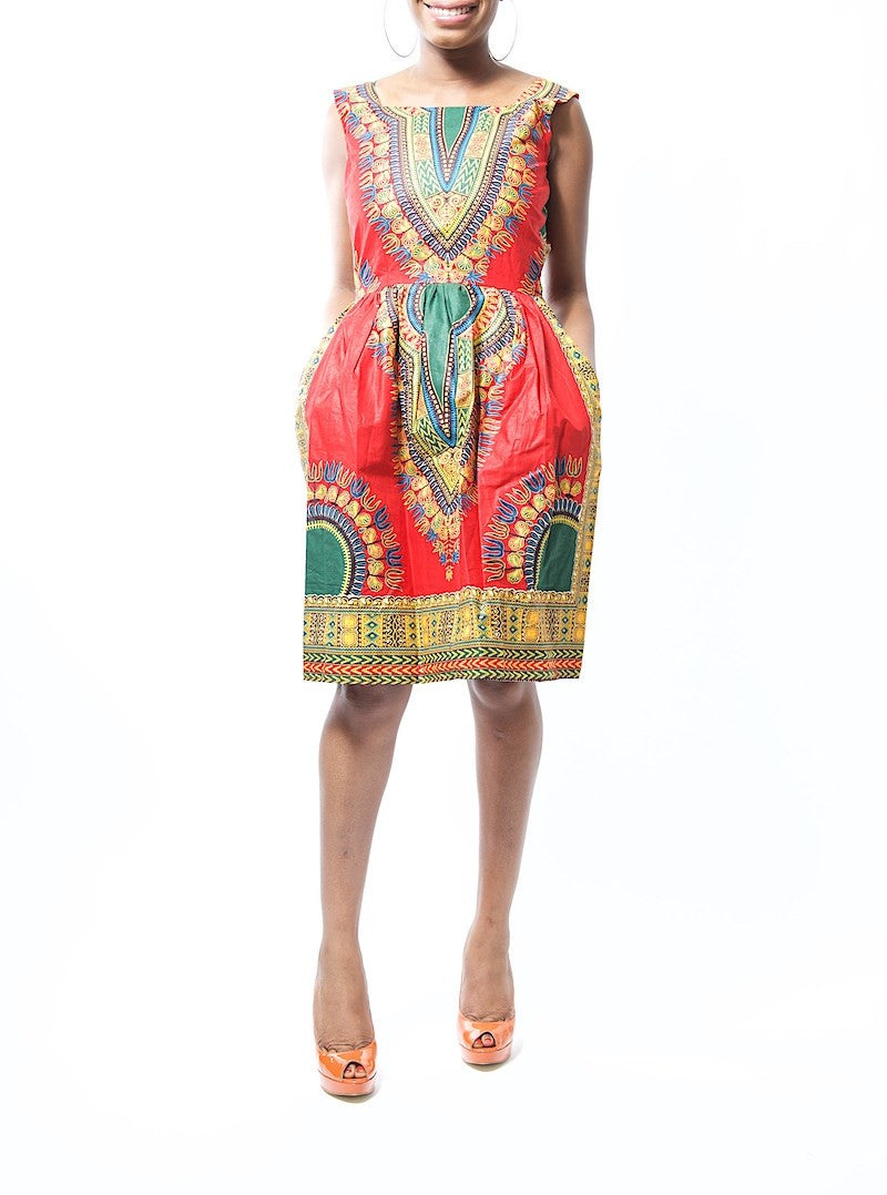 Lilian Royal Red Dashiki Ankara Print Skater Dress
