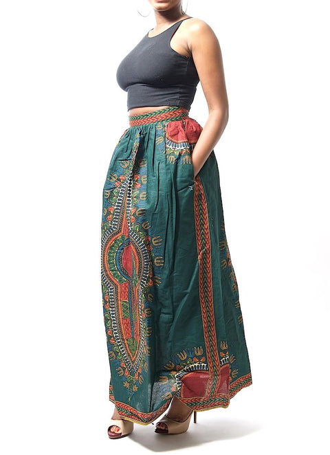 Ezi Royal Green Dashiki Ankara Print Maxi Skirt