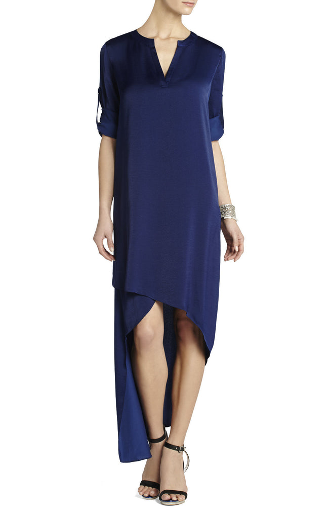 Brand New BCBG Max Azria Blue Asymmetrical Hem Dress Size XS