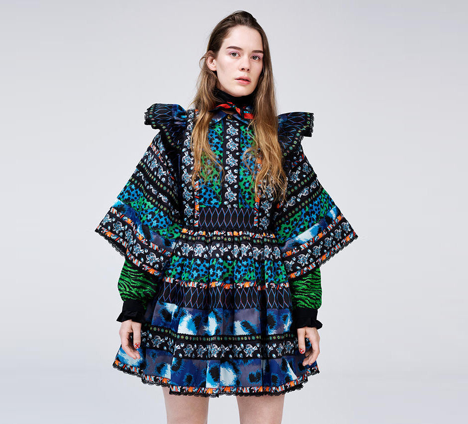 Brand New Kenzo X H&M Multi-Colored Jacquard Dress Size M