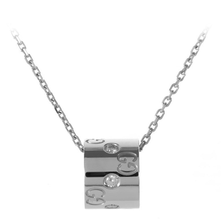 Brand New Gucci Icon 18k White Gold Diamond Pendant Necklace - Joyce's Closet  - 1
