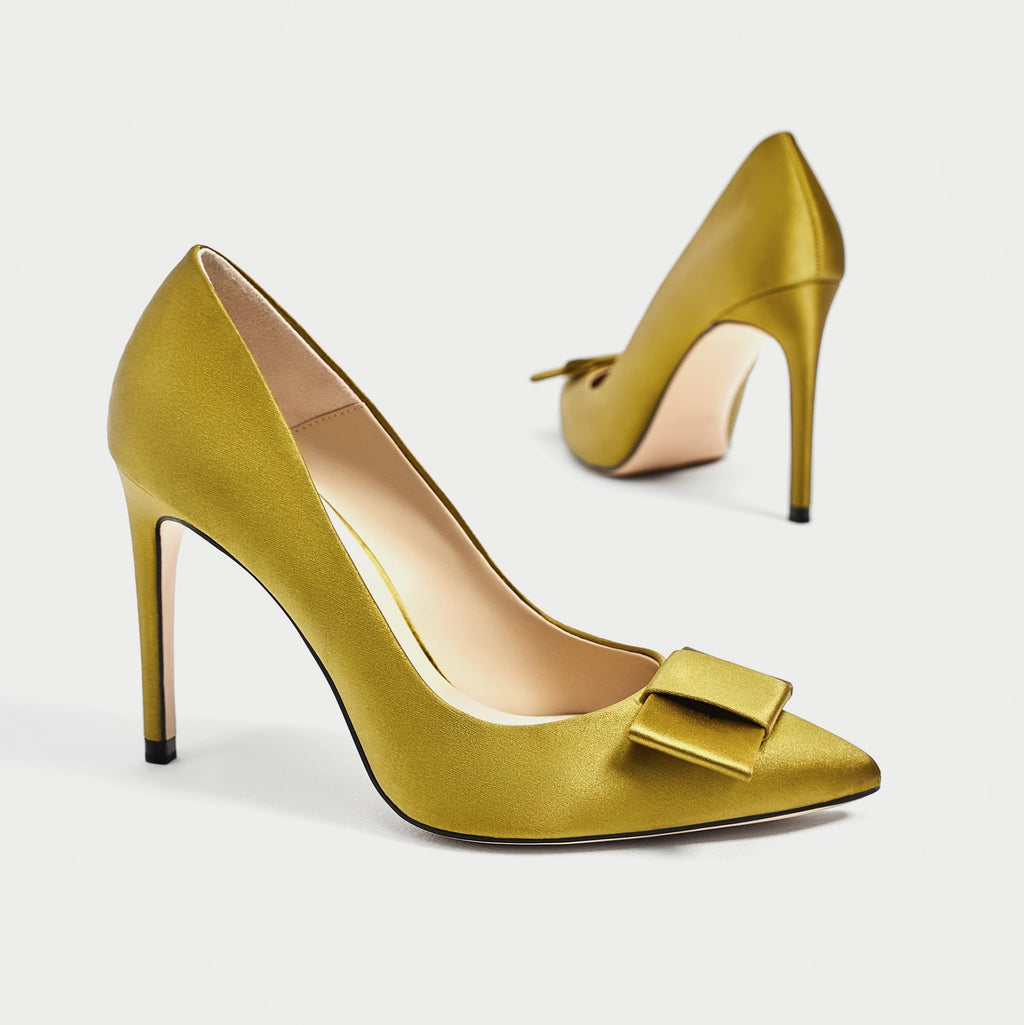 Brand New Zara Olive Bow Pump Size 35
