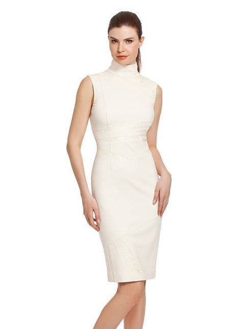 Guess by Marciano Melo Cream Bodycon Mock Neck Dress Size 0