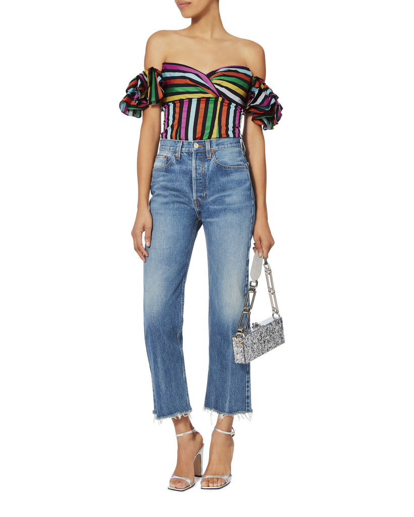 9b8d4a6b5ef Caroline Constas Luisa Multi Colored Off Shoulder Blouse Size S ...